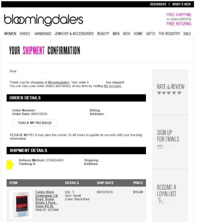 bloommail02 - 海外通販 Bloomingdale's(ブルーミングデールズ)商品購入したらメールが届いた その内容とは?英文例と翻訳