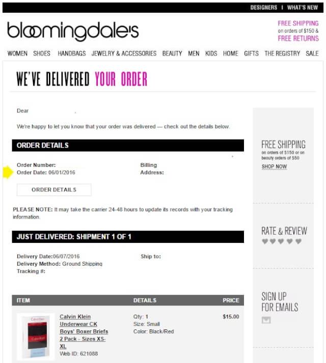 bloommail03 - 海外通販 Bloomingdale's(ブルーミングデールズ)商品購入したらメールが届いた その内容とは?英文例と翻訳
