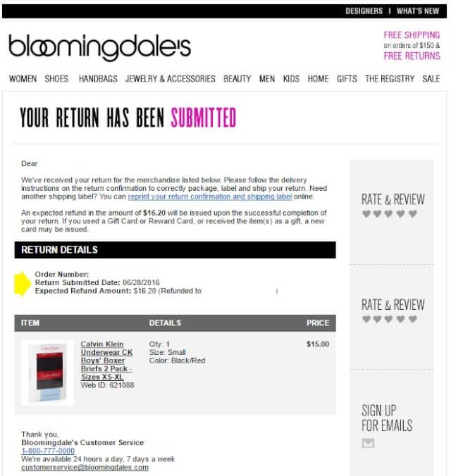 bloommail04 - 海外通販 Bloomingdale's(ブルーミングデールズ)商品購入したらメールが届いた その内容とは?英文例と翻訳