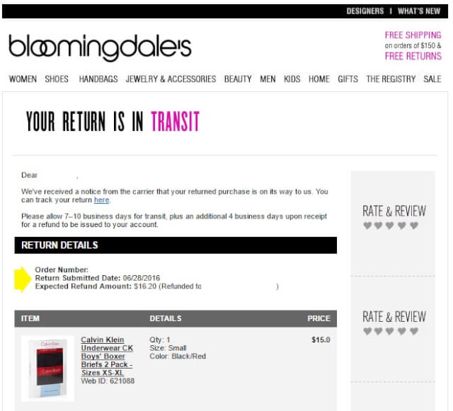 bloommail05 - 海外通販 Bloomingdale's(ブルーミングデールズ)商品購入したらメールが届いた その内容とは?英文例と翻訳