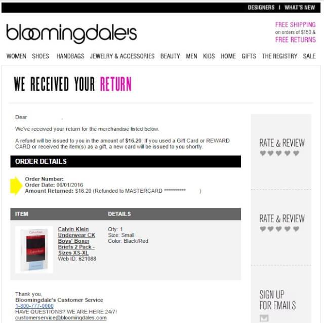 bloommail06 - 海外通販 Bloomingdale's(ブルーミングデールズ)商品購入したらメールが届いた その内容とは?英文例と翻訳