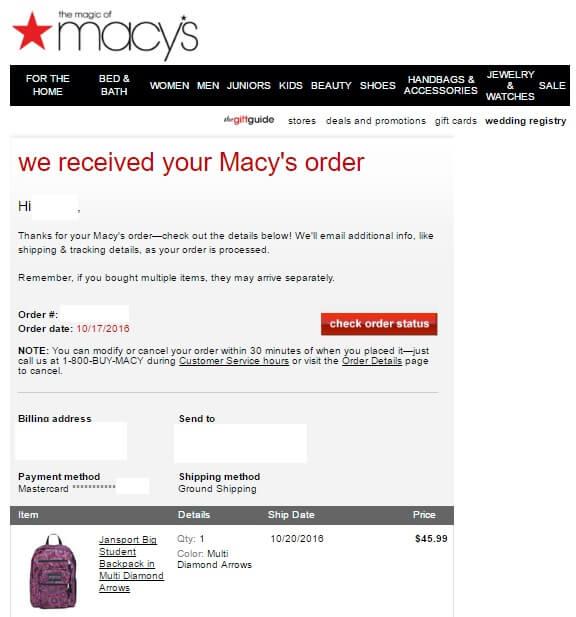 macysmail01 - 海外通販 Macy's(メイシーズ)英語メール 商品購入したらメールが届いた その内容とは?英文例と翻訳