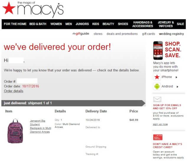 macysmail03 - 海外通販 Macy's(メイシーズ)英語メール 商品購入したらメールが届いた その内容とは?英文例と翻訳