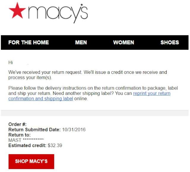 macysmail04 - 海外通販 Macy's(メイシーズ)英語メール 商品購入したらメールが届いた その内容とは?英文例と翻訳