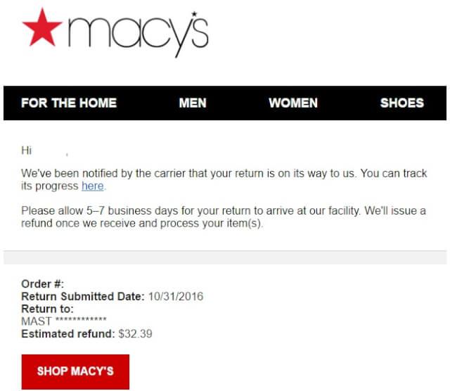 macysmail05 - 海外通販 Macy's(メイシーズ)英語メール 商品購入したらメールが届いた その内容とは?英文例と翻訳