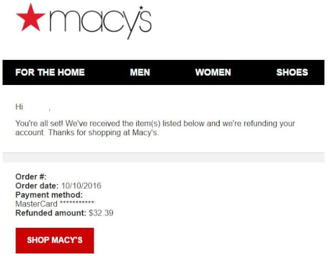 macysmail06 - 海外通販 Macy's(メイシーズ)英語メール 商品購入したらメールが届いた その内容とは?英文例と翻訳