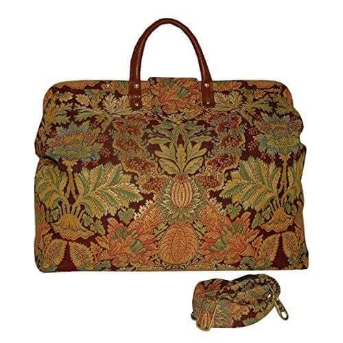 FlyingNeedleGallerys Burgundy Floral Medallion Carpet Bag - 【小旅行に最適】女性のための1~2泊用 旅行バッグおすすめ人気ランキング11選!