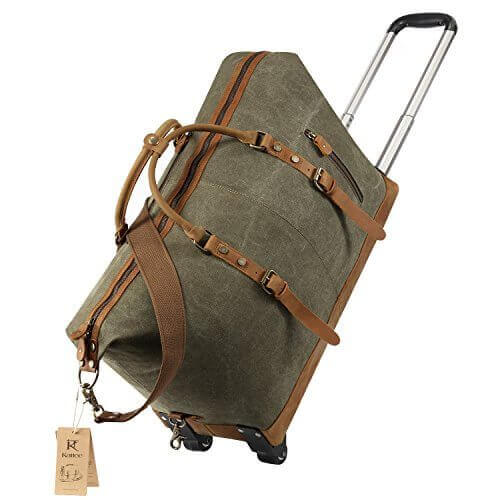 Kattee Luggage Rolling Duffel Bag Leather Trim Canvas Wheeled Carry on Travel Bag Army Green - 【小旅行に最適】女性のための1~2泊用 旅行バッグおすすめ人気ランキング11選!