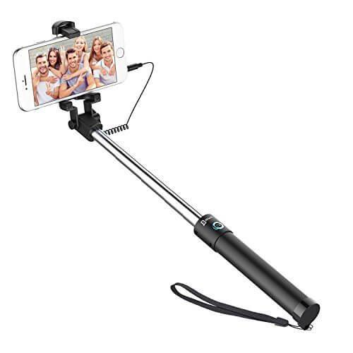 JETech Battery Free Selfie Stick Extendable Cable Control Self portrait Monopod Pole with Mount Holder for Apple iPhone 66 Plus54 iPod Samsung Galaxy S6S5S4S3 Note 432 and More - 【写真をもっと撮りやすく!!】自撮り棒おすすめ人気ランキング9選!