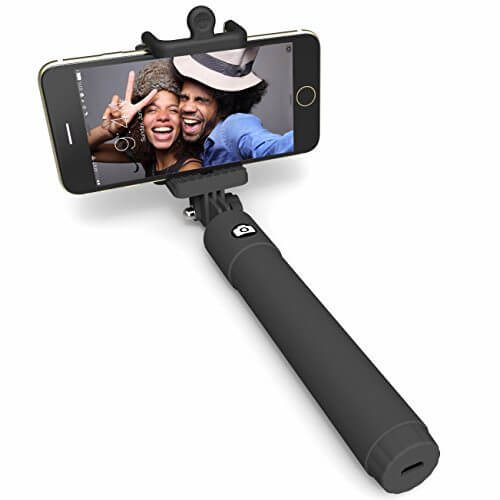 Selfie Stick Perfectday Foldable Extendable Bluetooth Selfie Stick with Built in Remote Shutter for iPhone 6s 6 6 Plus 5 5s 5c Black 1 - 【写真をもっと撮りやすく!!】自撮り棒おすすめ人気ランキング9選!